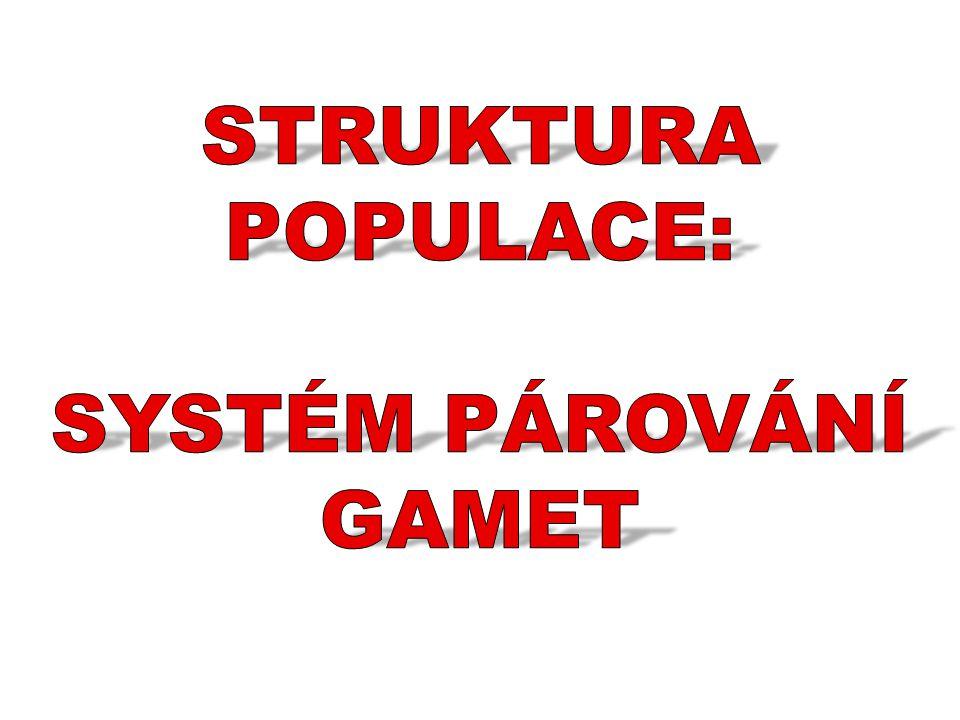 STRUKTURA POPULACE: SYSTÉM PÁROVÁNÍ GAMET