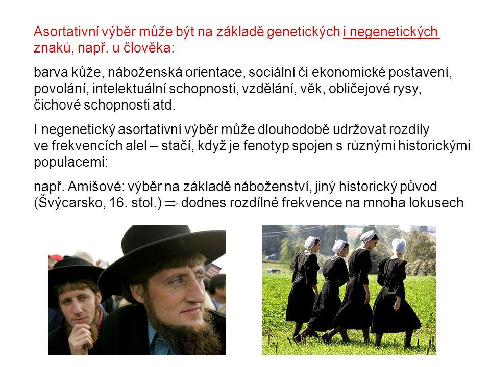 Asortativní výběr může být na základě genetických i negenetických znaků, např. u člověka: