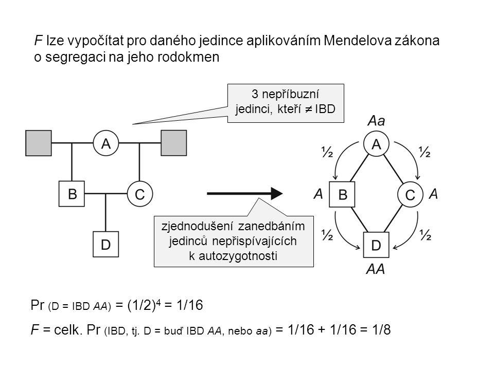 F = celk. Pr (IBD, tj. D = buď IBD AA, nebo aa) = 1/16 + 1/16 = 1/8