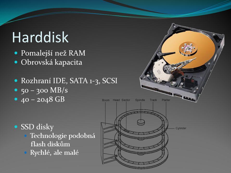 Harddisk Pomalejší než RAM Obrovská kapacita