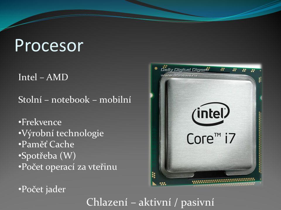Procesor Chlazení – aktivní / pasivní Intel – AMD