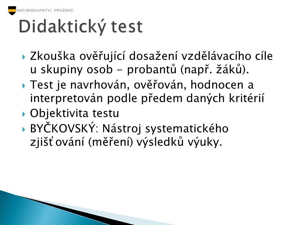 Didaktický test Zkouška ověřující dosažení vzdělávacího cíle u skupiny osob - probantů (např. žáků).