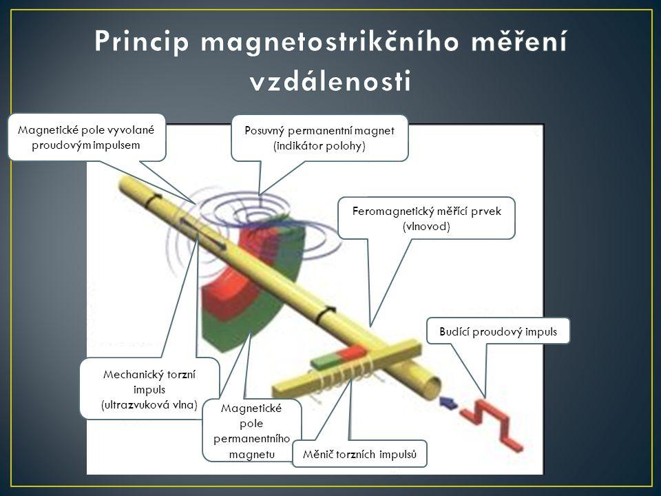 Princip magnetostrikčního měření vzdálenosti