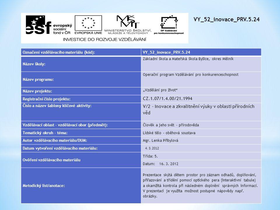 VY_52_inovace_PRV.5.24 Označení vzdělávacího materiálu (kód): VY_52_inovace_PRV.5.24. Název školy: