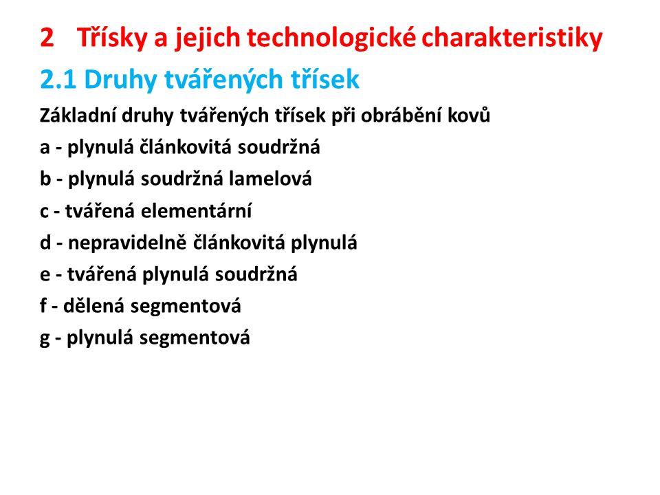 Třísky a jejich technologické charakteristiky