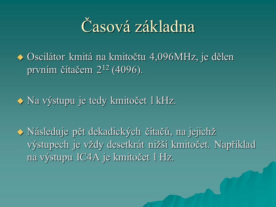 Časová základna Oscilátor kmitá na kmitočtu 4,096MHz, je dělen prvním čítačem 212 (4096). Na výstupu je tedy kmitočet l kHz.