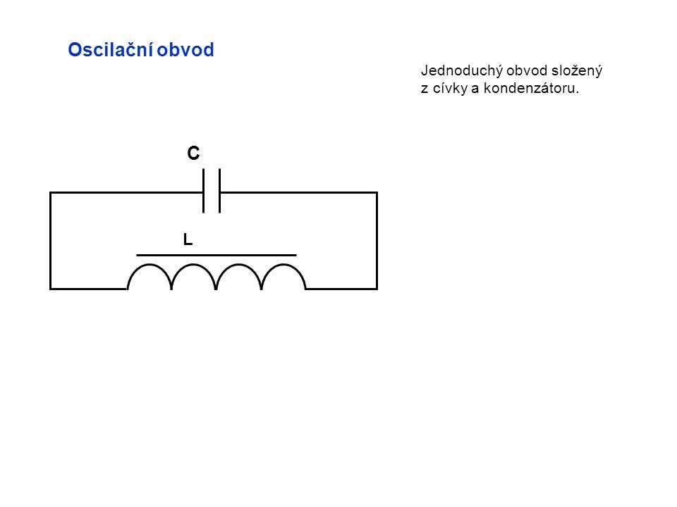 Oscilační obvod Jednoduchý obvod složený z cívky a kondenzátoru. C L
