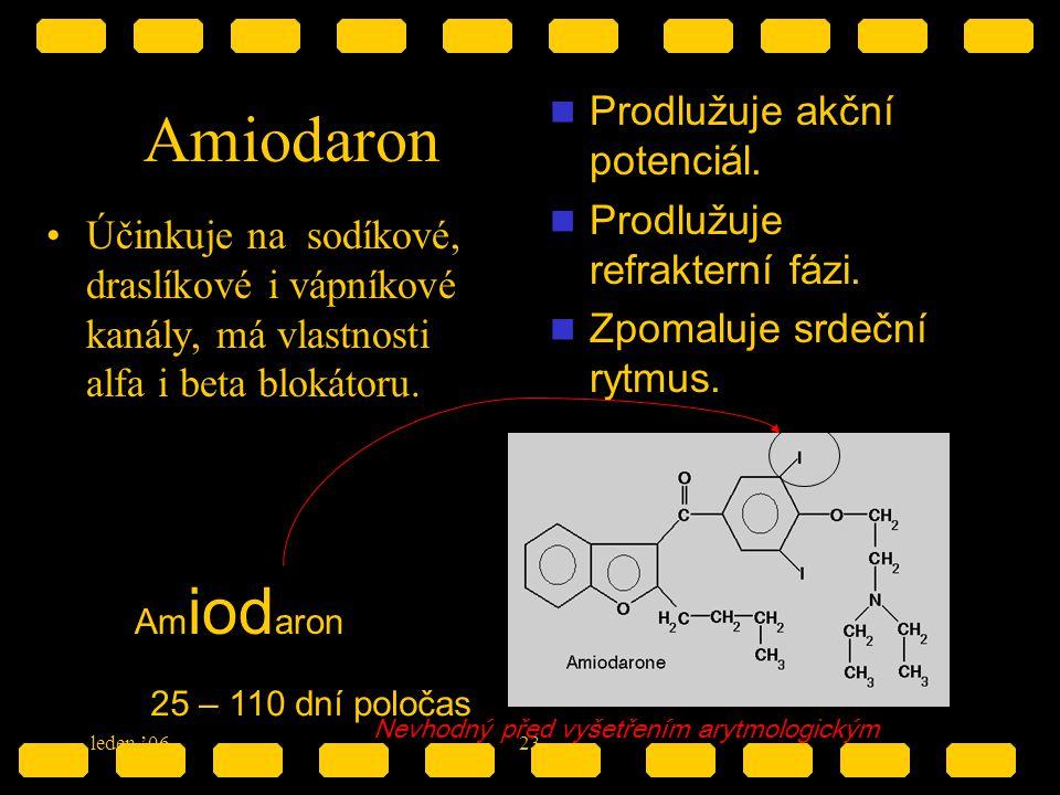 Amiodaron Prodlužuje akční potenciál. Prodlužuje refrakterní fázi.