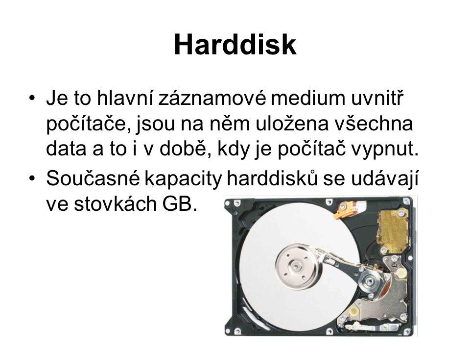 Harddisk Je to hlavní záznamové medium uvnitř počítače, jsou na něm uložena všechna data a to i v době, kdy je počítač vypnut.