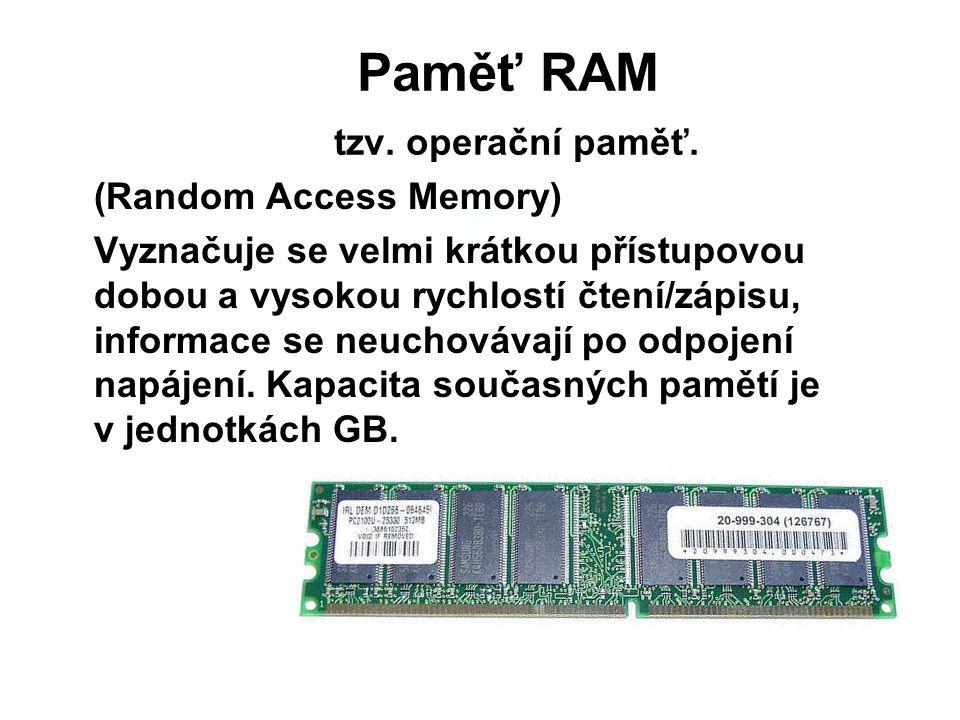 Paměť RAM tzv. operační paměť.
