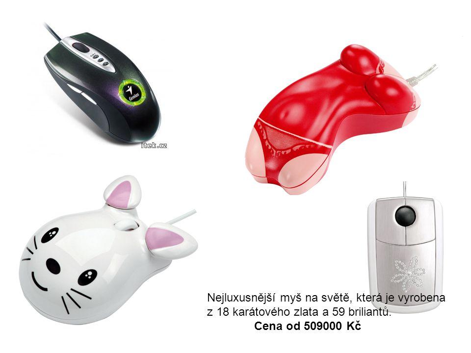 Nejluxusnější myš na světě, která je vyrobena z 18 karátového zlata a 59 briliantů.