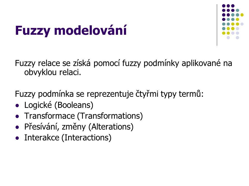 Fuzzy modelování Fuzzy relace se získá pomocí fuzzy podmínky aplikované na obvyklou relaci. Fuzzy podmínka se reprezentuje čtyřmi typy termů: