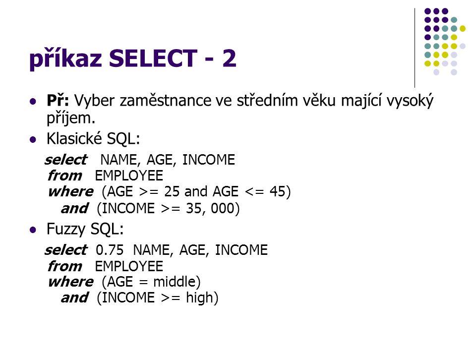 příkaz SELECT - 2 Př: Vyber zaměstnance ve středním věku mající vysoký příjem. Klasické SQL: