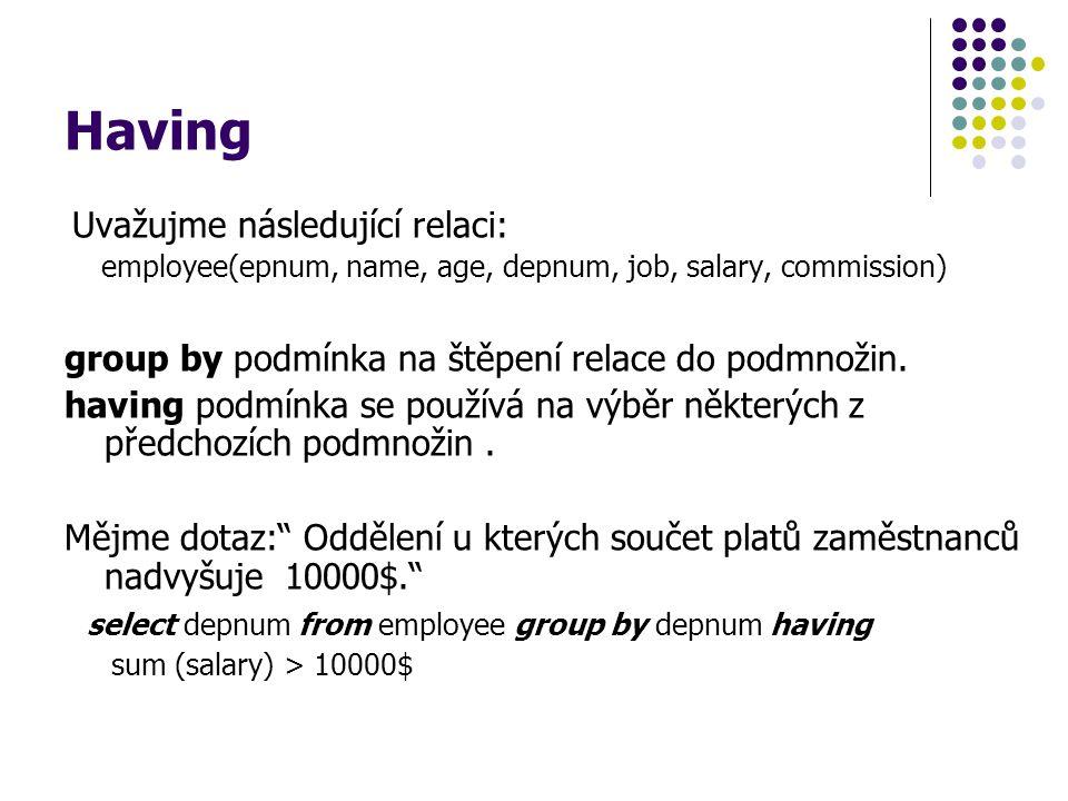 Having group by podmínka na štěpení relace do podmnožin.