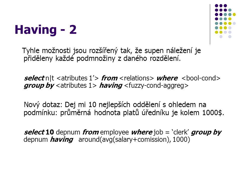 Having - 2 Tyhle možnosti jsou rozšířený tak, že supen náležení je přiděleny každé podmnožiny z daného rozdělení.