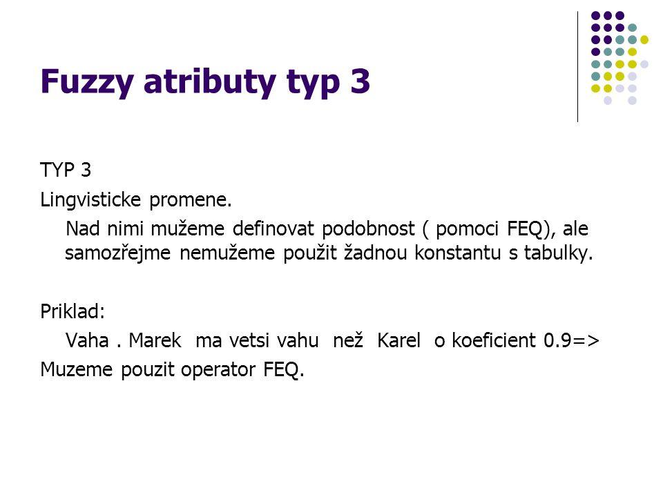 Fuzzy atributy typ 3 TYP 3 Lingvisticke promene.
