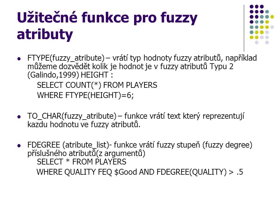 Užitečné funkce pro fuzzy atributy