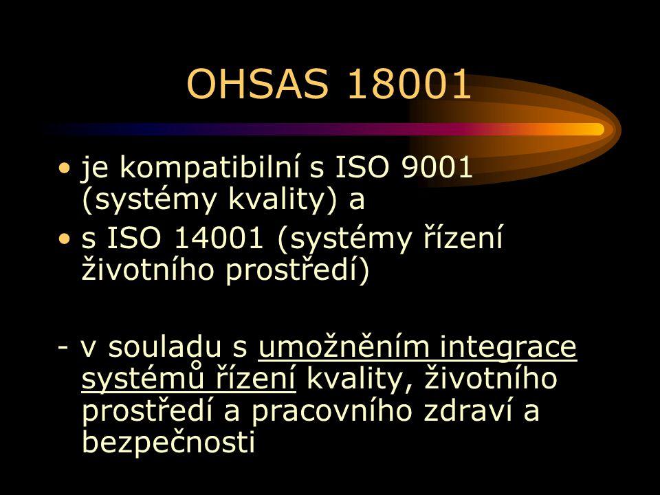 OHSAS 18001 je kompatibilní s ISO 9001 (systémy kvality) a