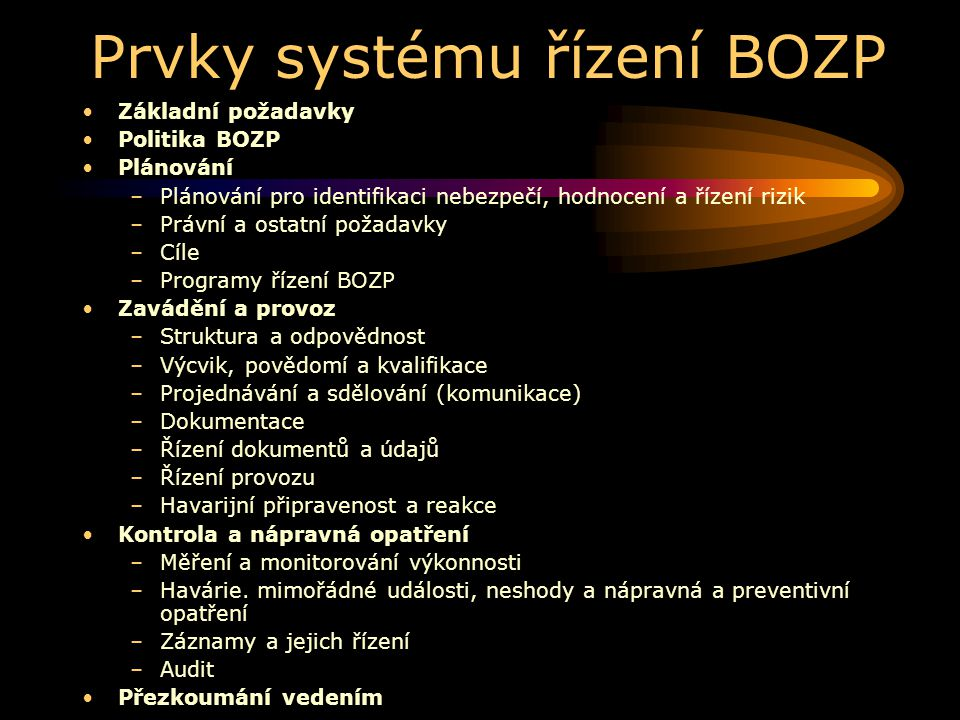 Prvky systému řízení BOZP