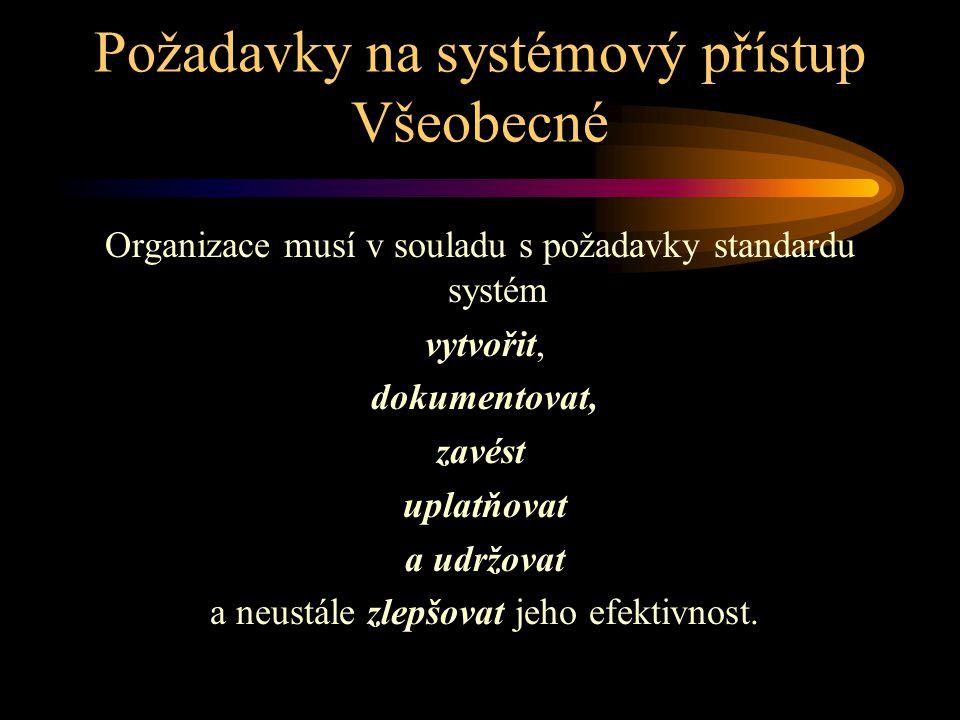 Požadavky na systémový přístup Všeobecné