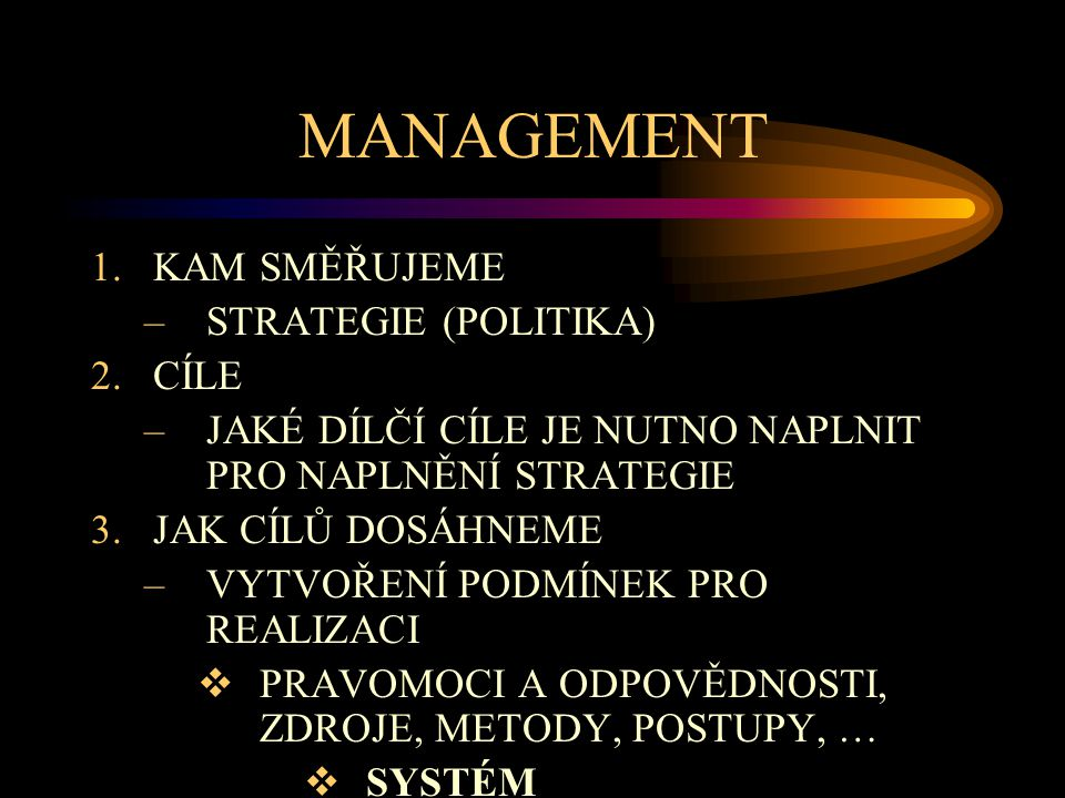 MANAGEMENT KAM SMĚŘUJEME STRATEGIE (POLITIKA) CÍLE