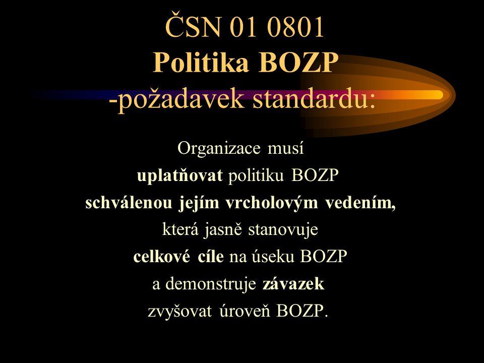ČSN 01 0801 Politika BOZP -požadavek standardu: