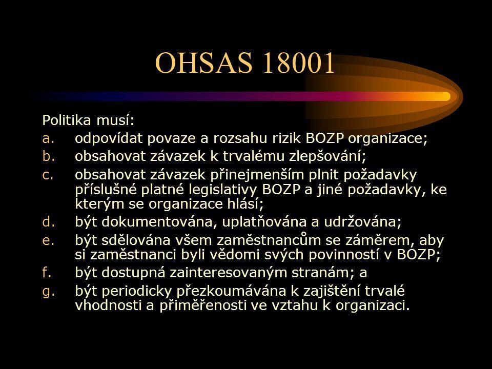 OHSAS 18001 Politika musí: odpovídat povaze a rozsahu rizik BOZP organizace; obsahovat závazek k trvalému zlepšování;