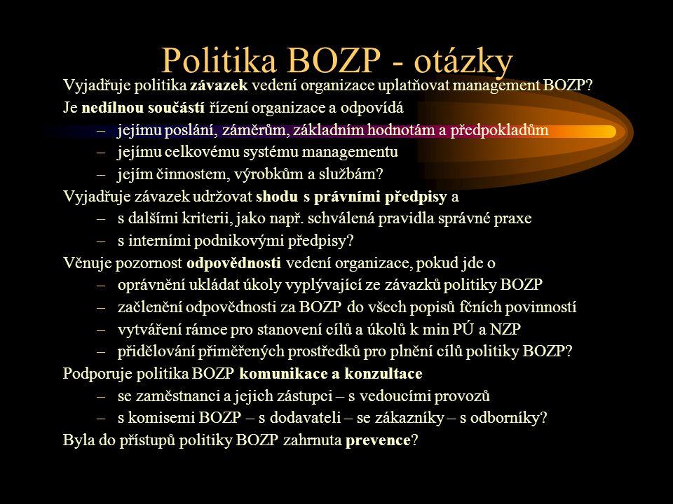 Politika BOZP - otázky Vyjadřuje politika závazek vedení organizace uplatňovat management BOZP Je nedílnou součástí řízení organizace a odpovídá.