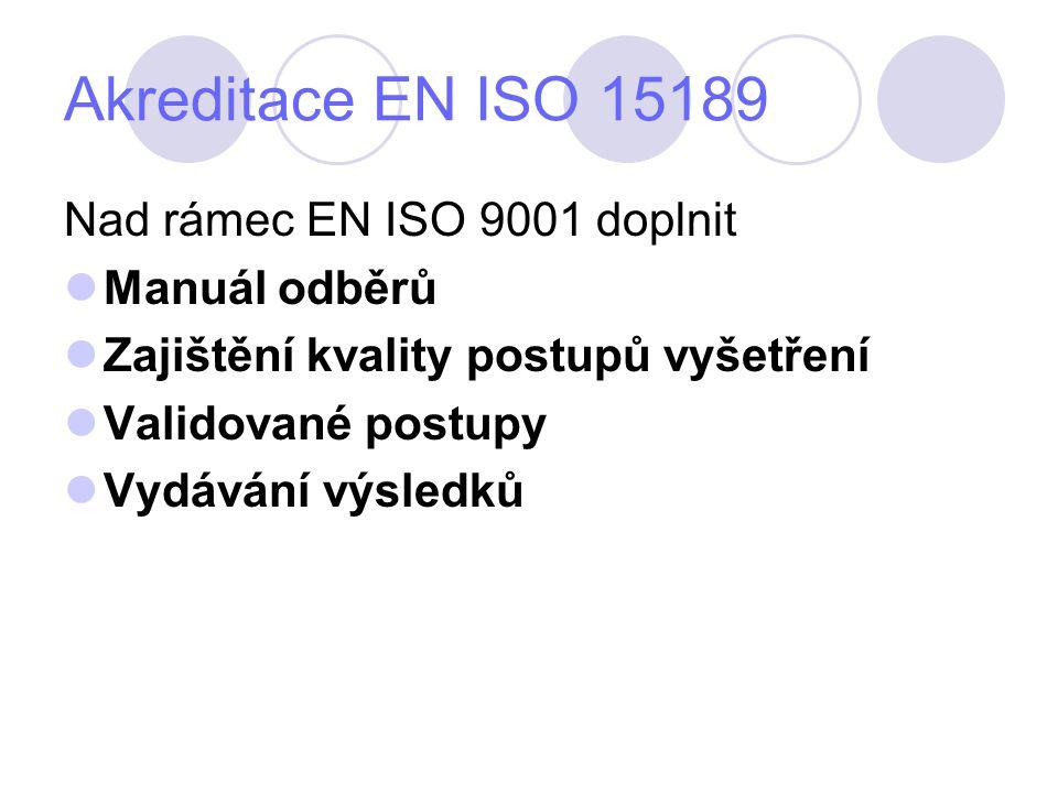 Akreditace EN ISO 15189 Nad rámec EN ISO 9001 doplnit Manuál odběrů