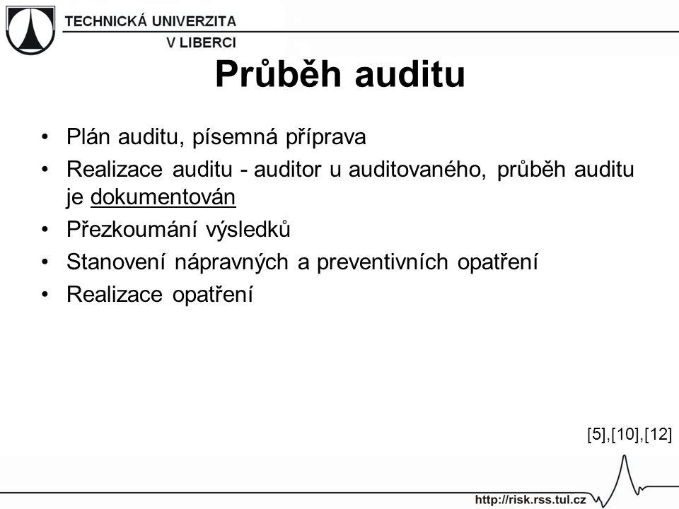 Průběh auditu Plán auditu, písemná příprava