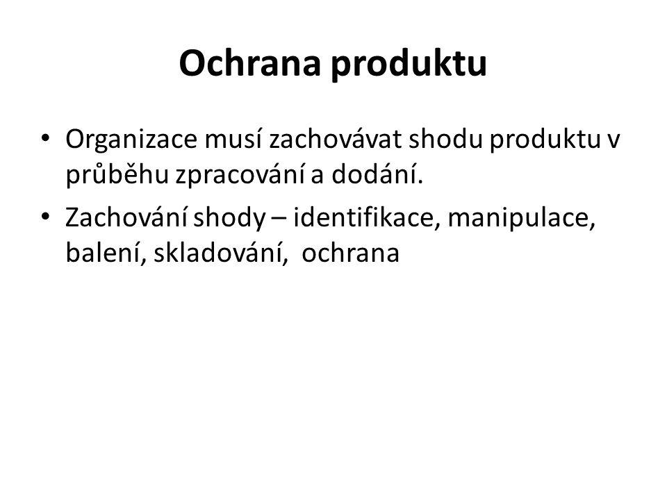 Ochrana produktu Organizace musí zachovávat shodu produktu v průběhu zpracování a dodání.