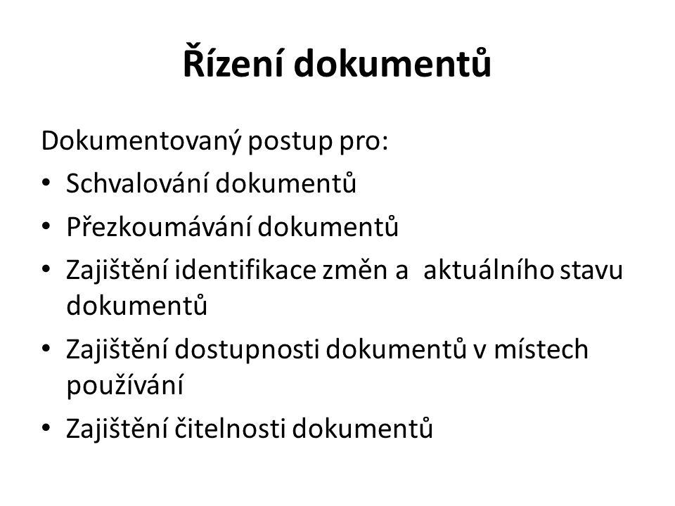 Řízení dokumentů Dokumentovaný postup pro: Schvalování dokumentů