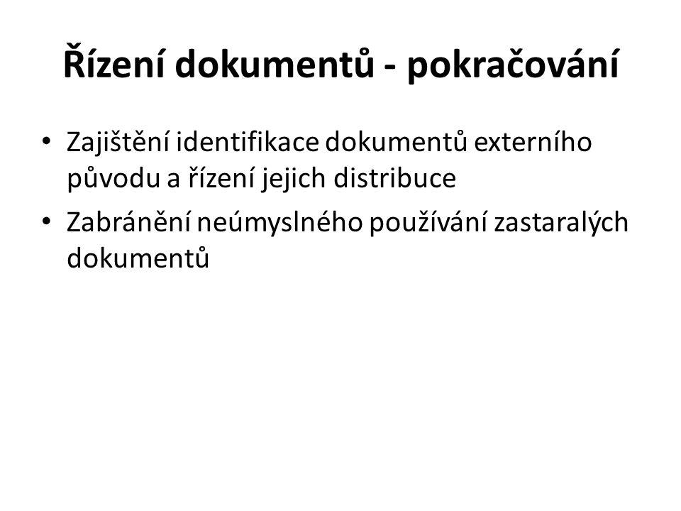 Řízení dokumentů - pokračování