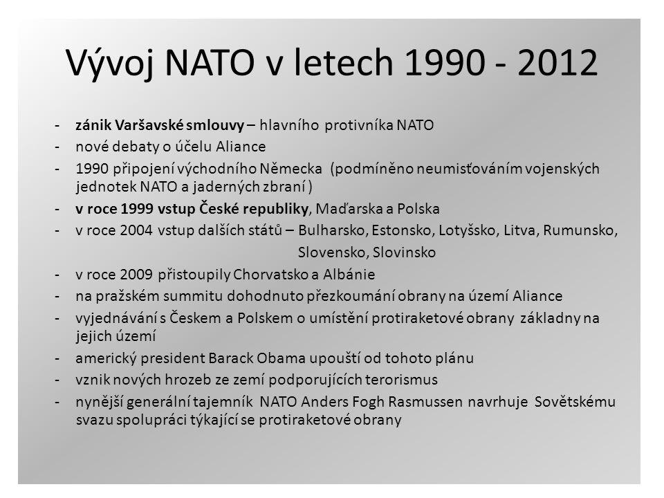 Vývoj NATO v letech 1990 - 2012 - zánik Varšavské smlouvy – hlavního protivníka NATO. - nové debaty o účelu Aliance.