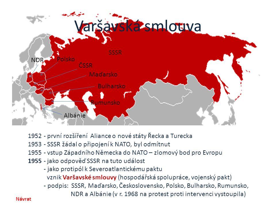 Varšavská smlouva SSSR Polsko NDR ČSSR Maďarsko Bulharsko Rumunsko