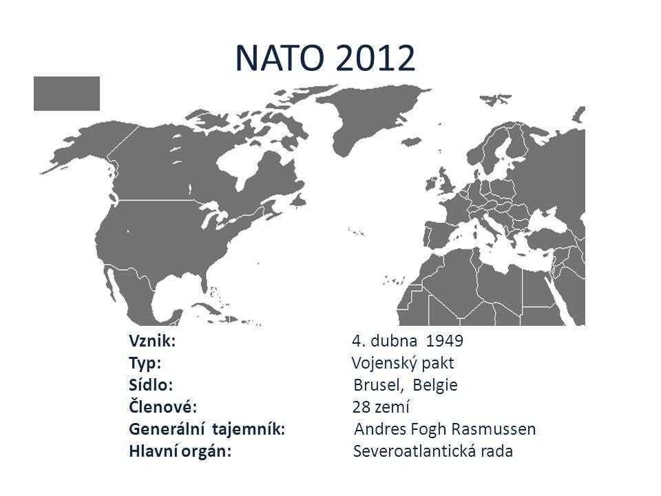 NATO 2012 Vznik: 4. dubna 1949 Typ: Vojenský pakt