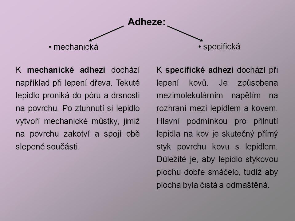 Adheze: mechanická specifická
