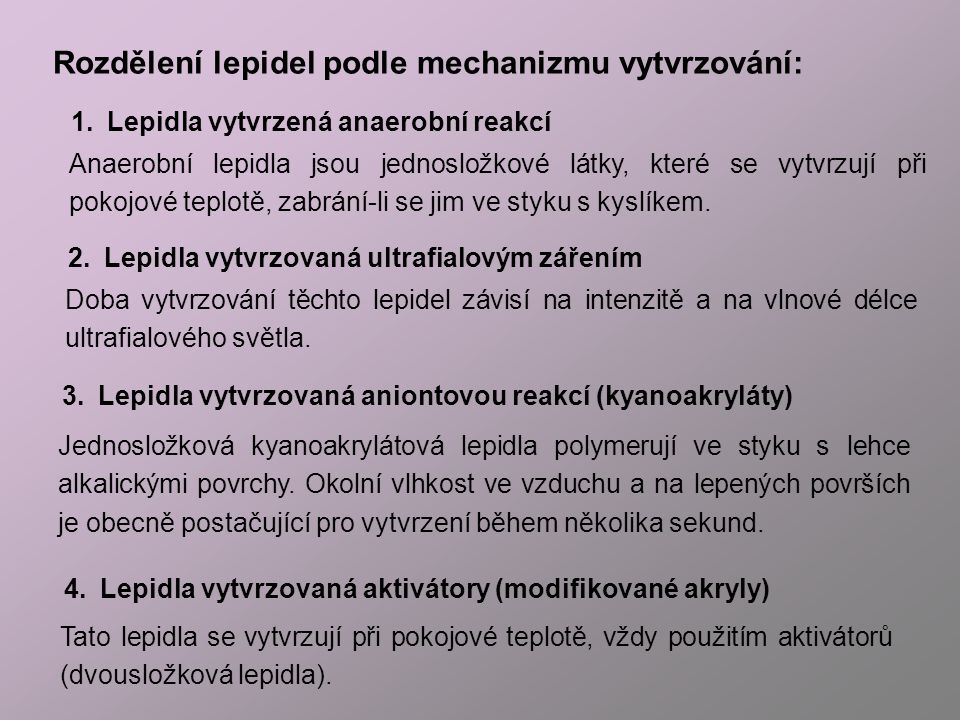 Rozdělení lepidel podle mechanizmu vytvrzování:
