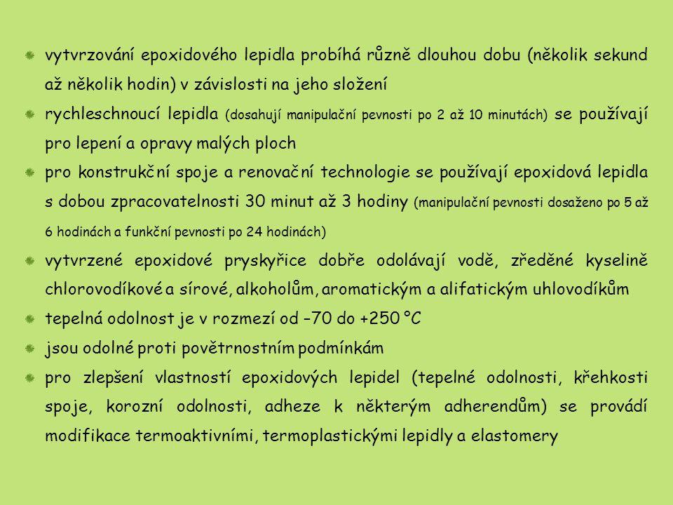 vytvrzování epoxidového lepidla probíhá různě dlouhou dobu (několik sekund až několik hodin) v závislosti na jeho složení