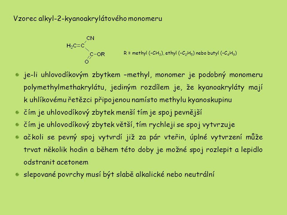 Vzorec alkyl-2-kyanoakrylátového monomeru