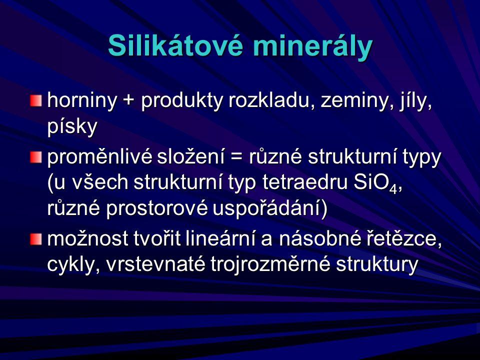 Silikátové minerály horniny + produkty rozkladu, zeminy, jíly, písky