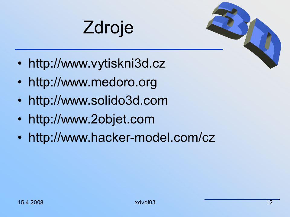 Zdroje 3D http://www.vytiskni3d.cz http://www.medoro.org