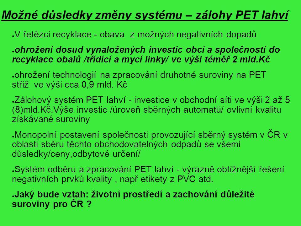 Možné důsledky změny systému – zálohy PET lahví