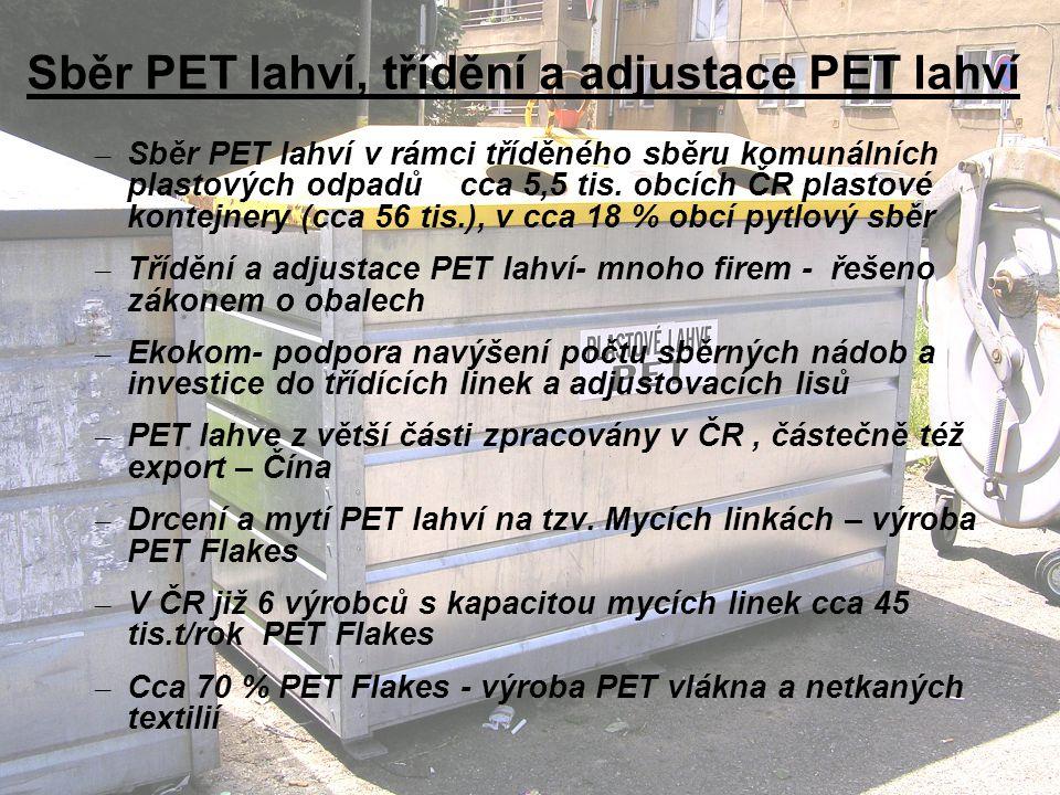 Sběr PET lahví, třídění a adjustace PET lahví
