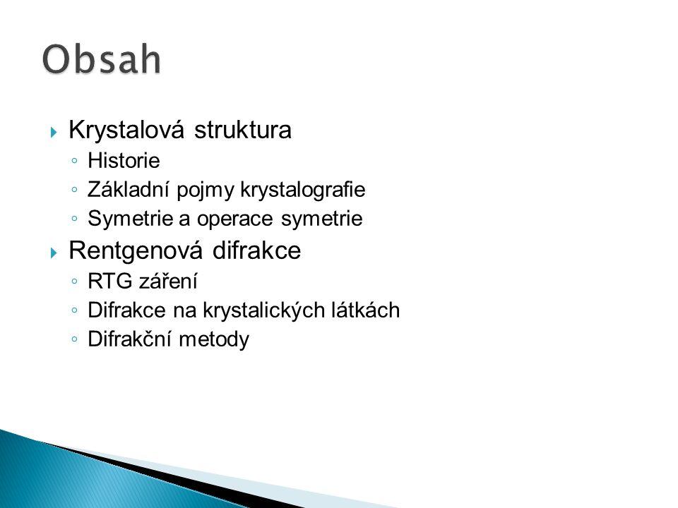 Obsah Krystalová struktura Rentgenová difrakce Historie