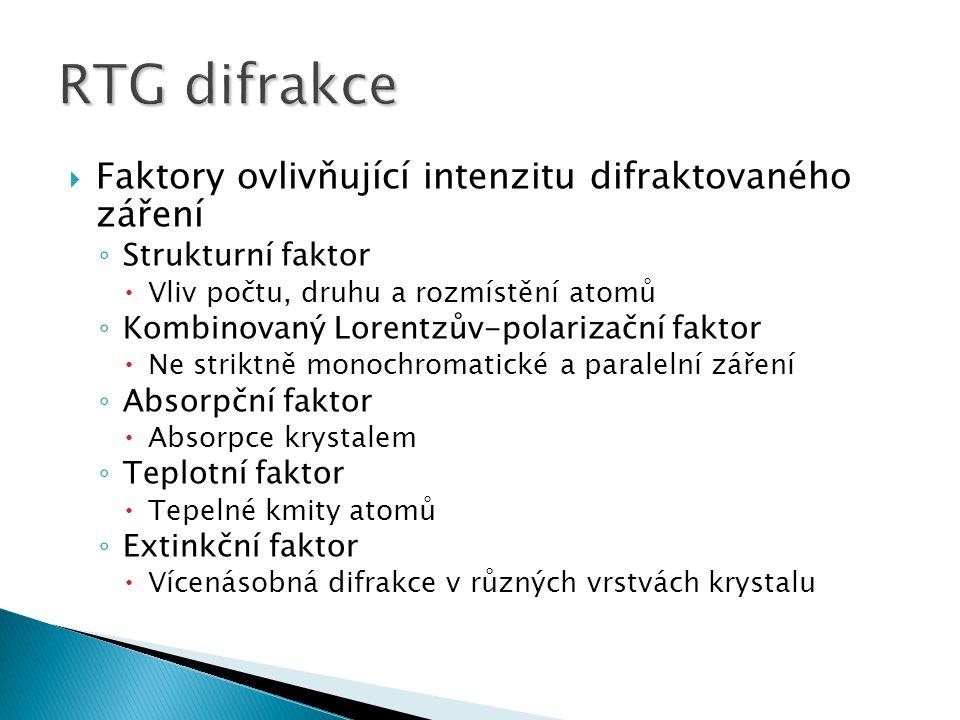 RTG difrakce Faktory ovlivňující intenzitu difraktovaného záření