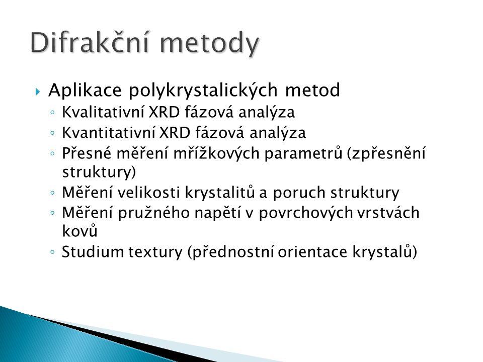 Difrakční metody Aplikace polykrystalických metod