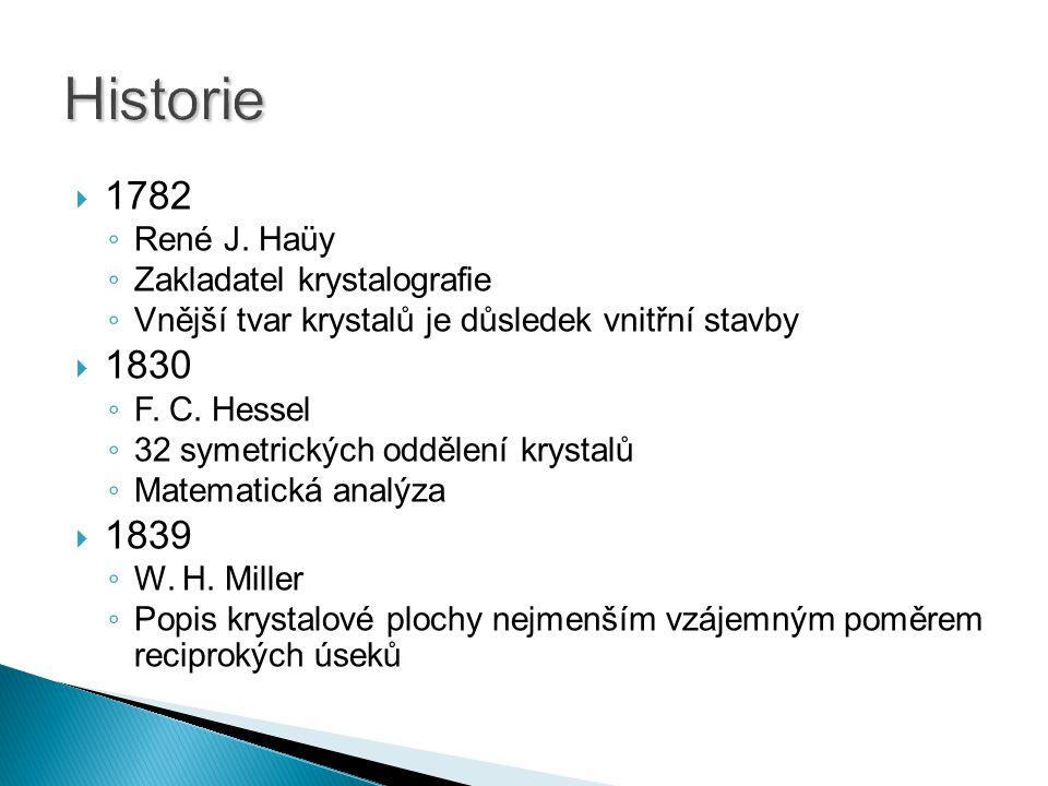 Historie 1782 1830 1839 René J. Haüy Zakladatel krystalografie
