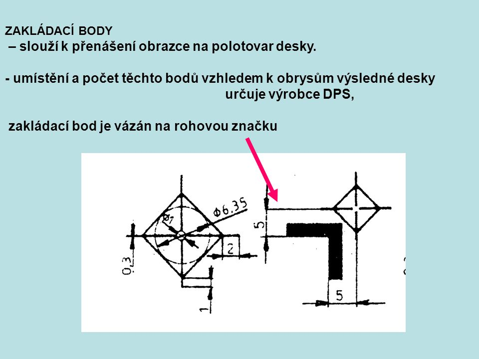 - umístění a počet těchto bodů vzhledem k obrysům výsledné desky