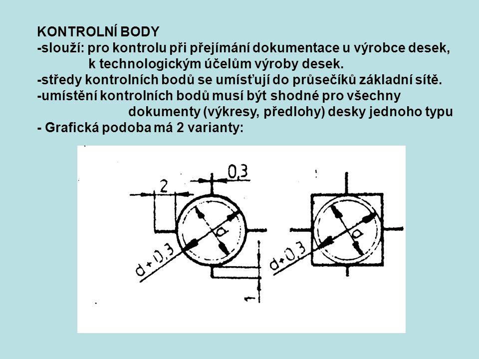 KONTROLNÍ BODY -slouží: pro kontrolu při přejímání dokumentace u výrobce desek, k technologickým účelům výroby desek.